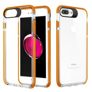 *Sale* Crystal Clear Transparent TPU Case with Bumper Reinforcement for iPhone 8 Plus / 7 Plus - Orange