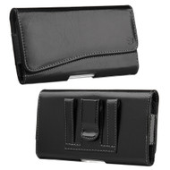 Premium Leather Nylon Hip Pouch Case - Black 18971