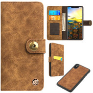 *SALE* Faux Suede Leather Wallet with Detachable Magnetic Case for iPhone X - Brown