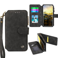 Eclipse Faux Suede Leather Wallet with Detachable Magnetic Case for iPhone X - Black