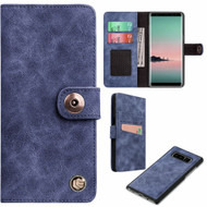Faux Suede Leather Wallet with Detachable Magnetic Case for Samsung Galaxy Note 8 - Dark Blue