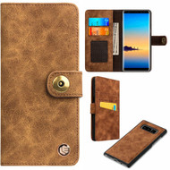 Faux Suede Leather Wallet with Detachable Magnetic Case for Samsung Galaxy Note 8 - Brown