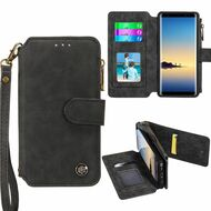 Eclipse Faux Suede Leather Wallet with Detachable Magnet Case for Samsung Galaxy Note 8 - Black