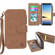 Eclipse Faux Suede Leather Wallet with Detachable Magnet Case for Samsung Galaxy Note 8 - Brown