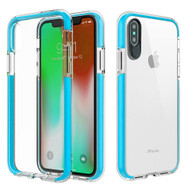 Crystal Clear Transparent TPU Case with Bumper Reinforcement for iPhone X - Blue