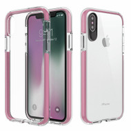 Crystal Clear Transparent TPU Case with Bumper Reinforcement for iPhone X - Pink