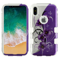 Military Grade Certified TUFF Image Hybrid Armor Case for iPhone X - Twilight Petunias