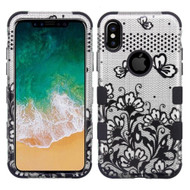 Military Grade Certified TUFF Image Hybrid Armor Case for iPhone X - Lace Flowers Black