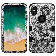 Military Grade Certified TUFF Image Hybrid Armor Case for iPhone X - Four Leaf Clover Black
