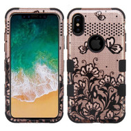 Military Grade Certified TUFF Image Hybrid Armor Case for iPhone X - Lace Flowers Rose Gold