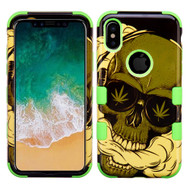 Military Grade Certified TUFF Image Hybrid Armor Case for iPhone X - Cannabis Skull