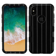 Military Grade Certified TUFF Image Hybrid Armor Case for iPhone X - Black Striped Suit