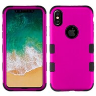 Military Grade Certified TUFF Hybrid Armor Case for iPhone X - Titanium Hot Pink