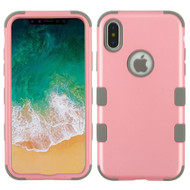 Military Grade Certified TUFF Hybrid Armor Case for iPhone X - Pearl Pink Iron Gray