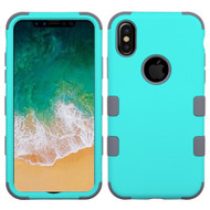 Military Grade Certified TUFF Hybrid Armor Case for iPhone X - Teal Green Iron Gray