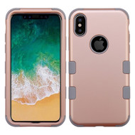 Military Grade Certified TUFF Hybrid Armor Case for iPhone X - Rose Gold Iron Gray