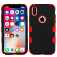Military Grade Certified TUFF Hybrid Armor Case for iPhone X - Black Red