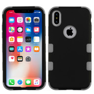 Military Grade Certified TUFF Hybrid Armor Case for iPhone X - Black Iron Gray