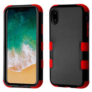 Military Grade Certified TUFF Hybrid Armor Case for iPhone X - Black Red 252