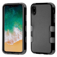 Military Grade Certified TUFF Hybrid Armor Case for iPhone X - Black Iron Gray 274