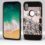 Military Grade Certified TUFF Trooper Dual Layer Hybrid Armor Case for iPhone X - Lace Flowers Rose Gold