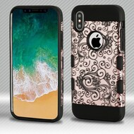 Military Grade Certified TUFF Trooper Dual Layer Hybrid Armor Case for iPhone X - Four Leaf Clover Rose Gold