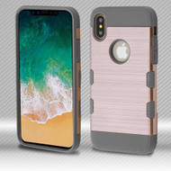 Military Grade Certified TUFF Trooper Dual Layer Hybrid Armor Case for iPhone X - Rose Gold Iron Gray