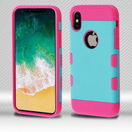 Military Grade Certified TUFF Trooper Dual Layer Hybrid Armor Case for iPhone X - Teal Green Electric Pink