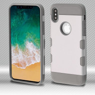 Military Grade Certified TUFF Trooper Dual Layer Hybrid Armor Case for iPhone X - Space Silver Iron Gray