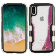 TUFF Quicksand Glitter Hybrid Armor Case for iPhone X - Black Purple