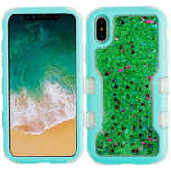 TUFF Quicksand Glitter Hybrid Armor Case for iPhone X - Teal Green 013