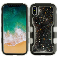TUFF Quicksand Glitter Hybrid Armor Case for iPhone X - Black