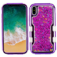TUFF Quicksand Glitter Hybrid Armor Case for iPhone X - Electroplating Purple