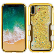 TUFF Quicksand Glitter Hybrid Armor Case for iPhone X - Electroplating Gold