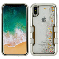 TUFF Quicksand Glitter Hybrid Armor Case for iPhone X - Electroplating Silver