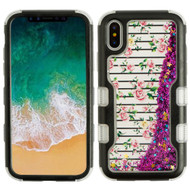 TUFF Quicksand Glitter Hybrid Armor Case for iPhone X - Pink Fresh Roses