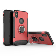 Carbon Edge Sports Hybrid Armor Case with Ring Holder for iPhone X - Red