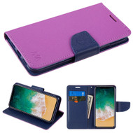 Diary Leather Wallet Case for iPhone X - Purple