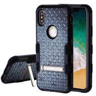 Military Grade Certified TUFF Image Hybrid Armor Case with Stand for iPhone X - Diamond Plate