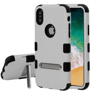 Military Grade Certified TUFF Hybrid Armor Case with Stand for iPhone X - Gray