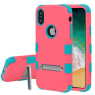 Military Grade Certified TUFF Hybrid Armor Case with Stand for iPhone X - Pink Tropical Teal