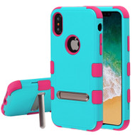 Military Grade Certified TUFF Hybrid Armor Case with Stand for iPhone X - Teal Green Electric Pink