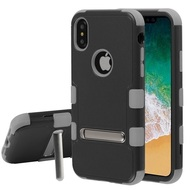 Military Grade Certified TUFF Hybrid Armor Case with Stand for iPhone X - Black Iron Gray