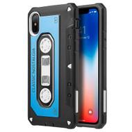 *Sale* Vintage Cassette Anti-Shock Hybrid Armor Case for iPhone X - Blue