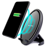 Dual Coils Qi Wireless Charger Charging Stand with Cooling Fan - Black