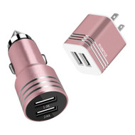Power Pack Dual USB Car and AC Wall Travel Charger Combo - Rose Gold