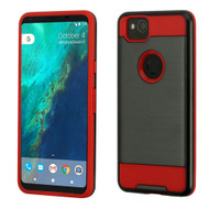 Brushed Hybrid Armor Case for Google Pixel 2 - Black Red