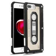 *Sale* Vintage Cassette Anti-Shock Hybrid Armor Case for iPhone 8 Plus / 7 Plus - Gold