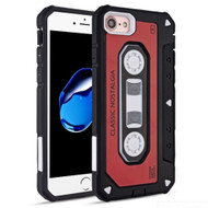 Vintage Cassette Anti-Shock Hybrid Armor Case for iPhone 8 / 7 - Red