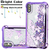 Confetti Quicksand Glitter Electroplating Transparent Case for iPhone X - Butterflies